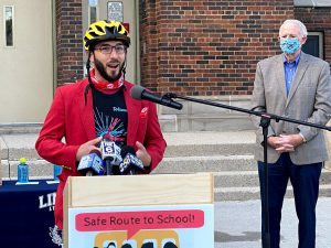 Michael Anderson, Program Manager, Wisconsin Bike Fed, speaks at award ceremony.
